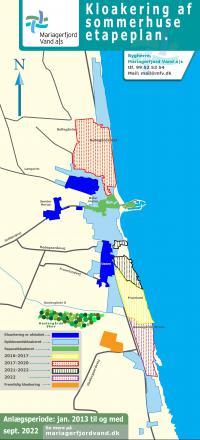 Kortet viser etape inddelingen af sommerkloakering frem til 2022